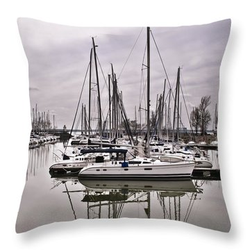 Sailboat Row Throw Pillow by Greg Jackson