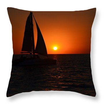 Sailboat Sunset Throw Pillow