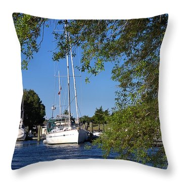 Sailboat Through Trees Throw Pillow