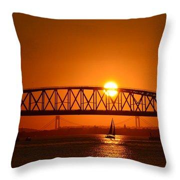 Sailboat Under Marine Park Bridge Throw Pillow