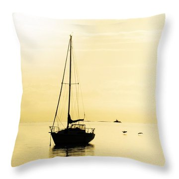 Sailboat With Sunglow Throw Pillow by Barbara Henry