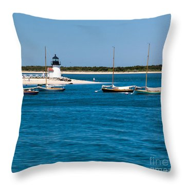 Sailboats And Brant Point Lighthouse Nantucket Throw Pillow