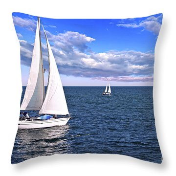 Sailboats At Sea Throw Pillow