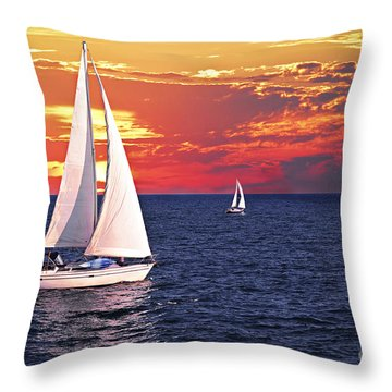 Sailboats At Sunset Throw Pillow by Elena Elisseeva
