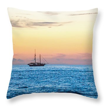 Sailboats At Sunset Off Key West Florida Throw Pillow