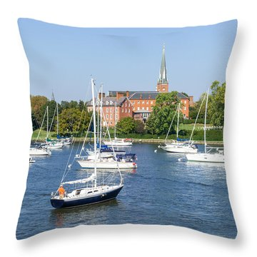 Throw Pillow featuring the photograph Sailboats By Charles Carroll House by Charles Kraus