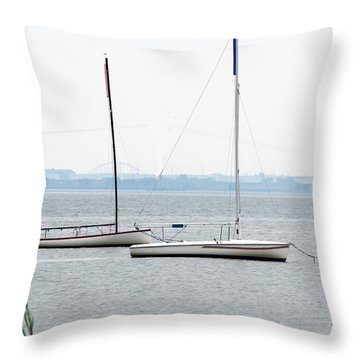 Sailboats In Battery Park Harbor Throw Pillow