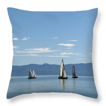 Sailboats In Blue Throw Pillow