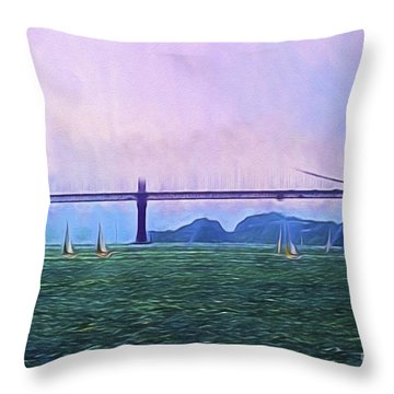 Throw Pillow featuring the photograph Sailboats In The Bay  ... by Chuck Caramella