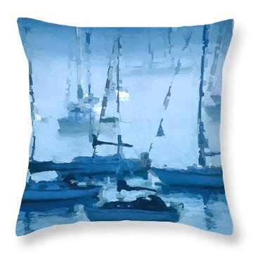 Sailboats In The Fog II Throw Pillow