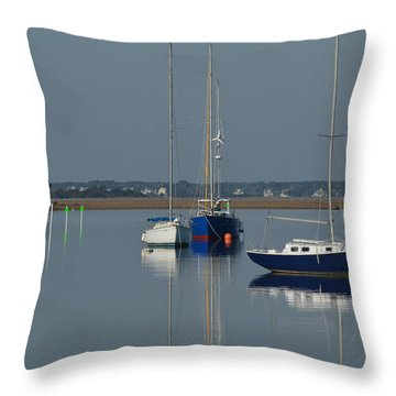 Sailboats In The Marina Throw Pillow by Dan Williams