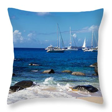 Sailboats In The Sea, The Baths, Virgin Throw Pillow by Panoramic Images