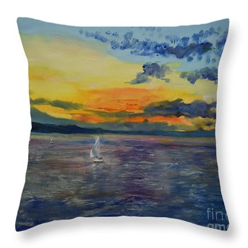 Sailboats Near Stockholm Throw Pillow