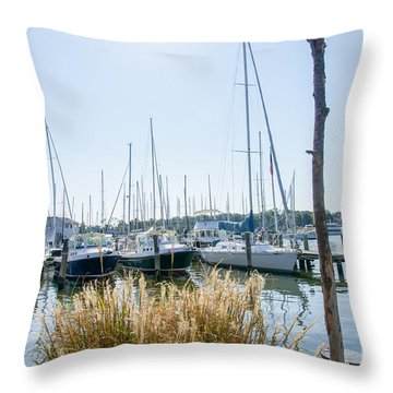 Sailboats On Back Creek Throw Pillow