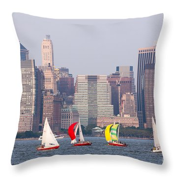 Sailboats On The Hudson I Throw Pillow by Clarence Holmes