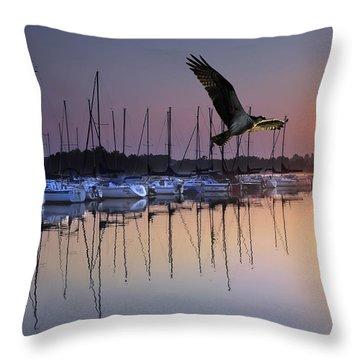 Sailboats Osprey Sunrise Throw Pillow by Randall Branham