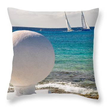 Sailboats Racing In Cozumel Throw Pillow
