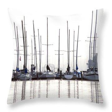 Sailboats Reflected Throw Pillow