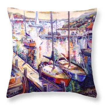 Sailboats Throw Pillow by Stan Esson