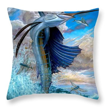 Sailfish And Flying Fish Throw Pillow
