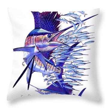 Sailfish Ballyhoo Throw Pillow by Carey Chen