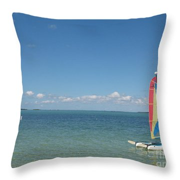 Throw Pillow featuring the photograph Sailing  At Key Largo by Christiane Schulze Art And Photography