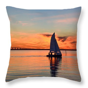 Sailing At Sunset Throw Pillow