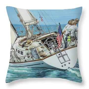 Throw Pillow featuring the painting Sailing Away by Jane Girardot