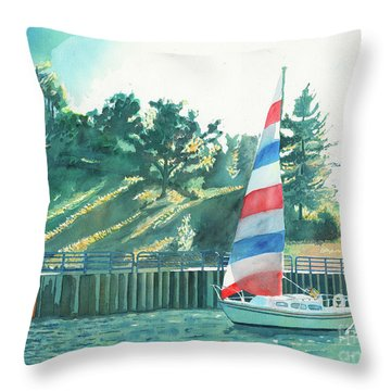 Sailing Back To Port, Sail Boat Paintings, Sail Boat Prints, Sailing, Pentwater, Michigan, Lakes Throw Pillow