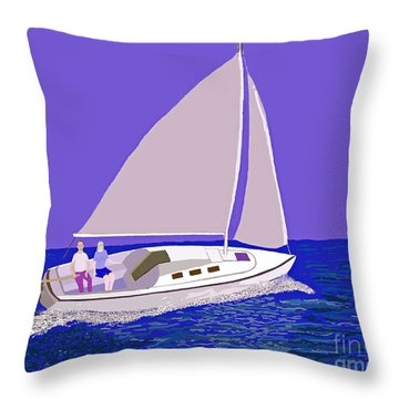 Sailing Blue Ocean Throw Pillow by Fred Jinkins