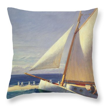 Sailing Boat Throw Pillow by Edward Hopper