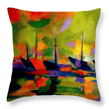 Sailing Boats By The River Throw Pillow by Helena Wierzbicki
