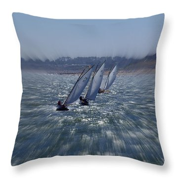 Sailing Boats Racing Throw Pillow