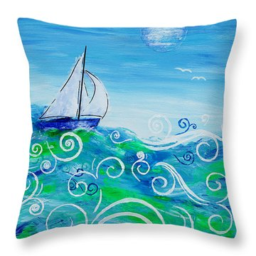 Sailing By Jan Marvin Throw Pillow
