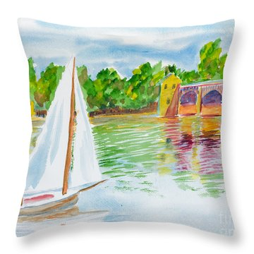Sailing By The Bridge Throw Pillow