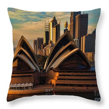 sailing by the Opera House Throw Pillow
