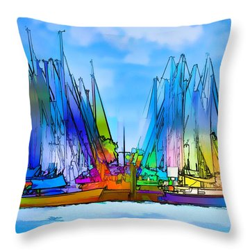 Sailing Club Abstract Throw Pillow by Pamela Blizzard