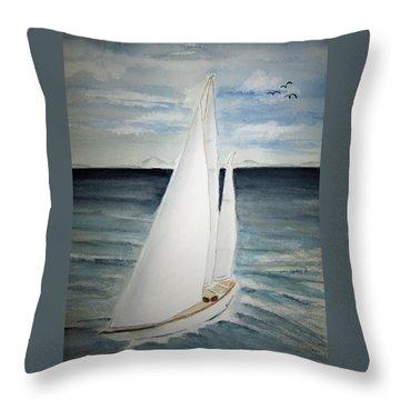 Sailing Throw Pillow by Elvira Ingram