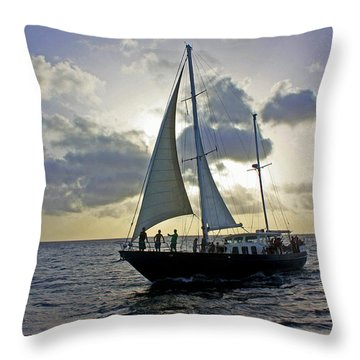 Throw Pillow featuring the photograph Sailing In Aruba by Suzanne Stout