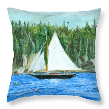 Sailing In Southwest Harbor Throw Pillow
