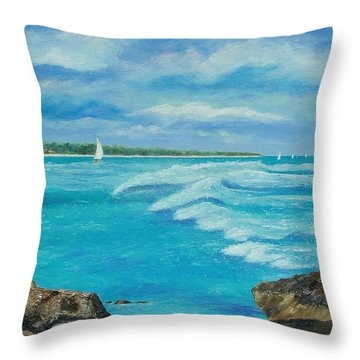 Sailing In The Bay Throw Pillow