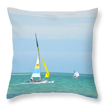 Sailing In The Gulf Of Mexico Throw Pillow by Bill Cannon