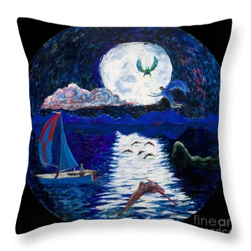 Sailing In The Moonlight Throw Pillow