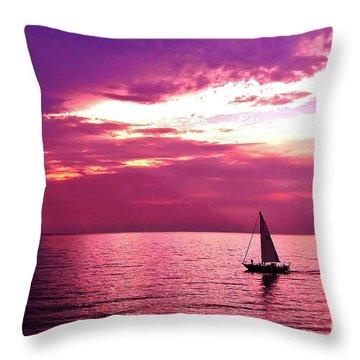 Sailing Into The Setting Sun Throw Pillow by Kathi Mirto