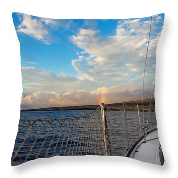 Sailing Lahaina Bay Throw Pillow