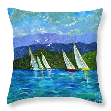 Throw Pillow featuring the painting Sailing by Laura Forde