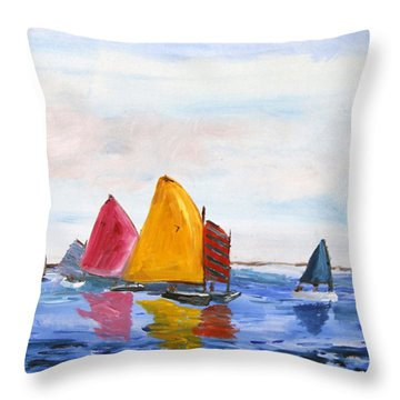 Sailing Nantucket Sound Throw Pillow by Michael Helfen