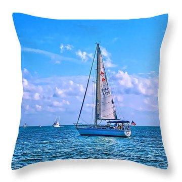 Sailing Off Of Key Largo Throw Pillow