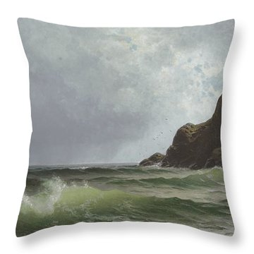 Sailing Off The Coast Throw Pillow by Alfred Thompson Bricher