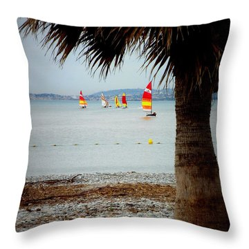 Sailing On A Cloudy Morning Throw Pillow by Lainie Wrightson